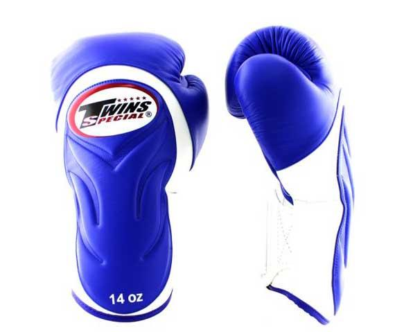 Twins White-Blue Dual Color Boxing Gloves - Extended Cuff Velcro Wrist