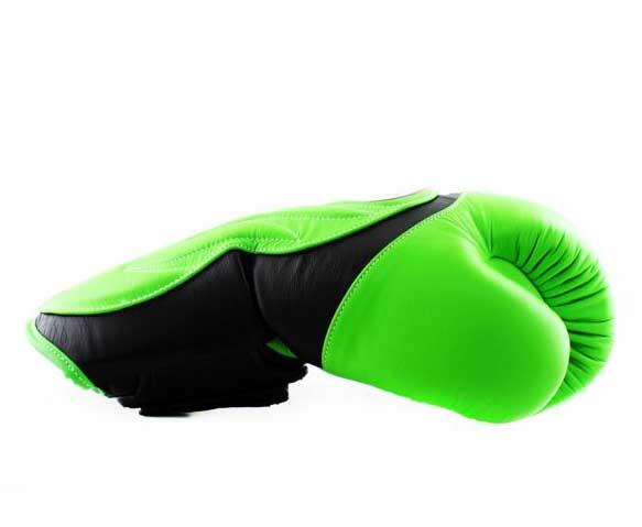 Twins Black-Green Dual Color Boxing Gloves - Extended Cuff Velcro Wrist