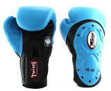 Twins Black-Light Blue Dual Color Boxing Gloves - Extended Cuff Velcro Wrist - Image 1