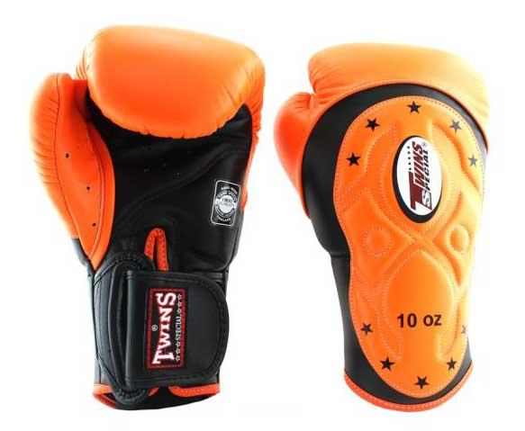 Twins Black-Orange Dual Color Boxing Gloves - Extended Cuff Velcro Wrist - Image 1