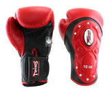 Twins Black-Red Dual Color Boxing Gloves - Extended Cuff Velcro Wrist - Image 1