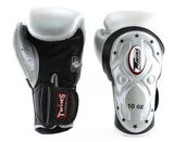 Twins Black-Silver Dual Color Boxing Gloves - Extended Cuff Velcro Wrist - Image 1