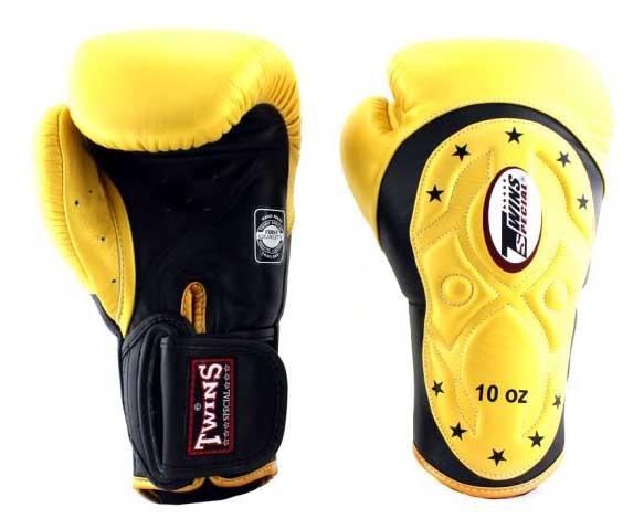 Twins Black-Yellow Dual Color Boxing Gloves - Extended Cuff Velcro Wrist - Image 1