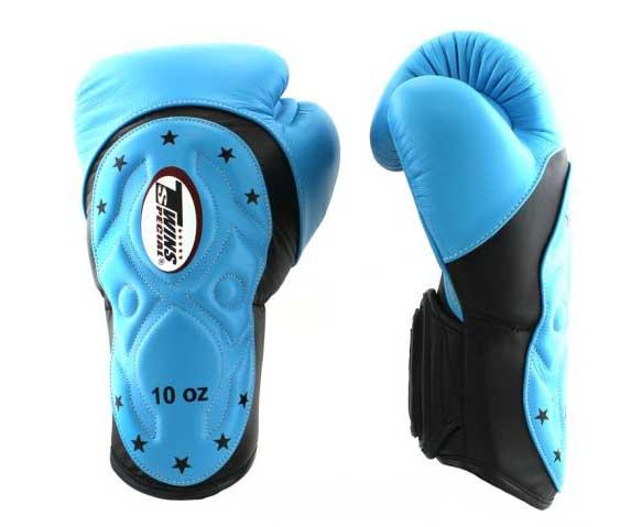 Twins Black-Light Blue Dual Color Boxing Gloves - Extended Cuff Velcro Wrist - Image 2