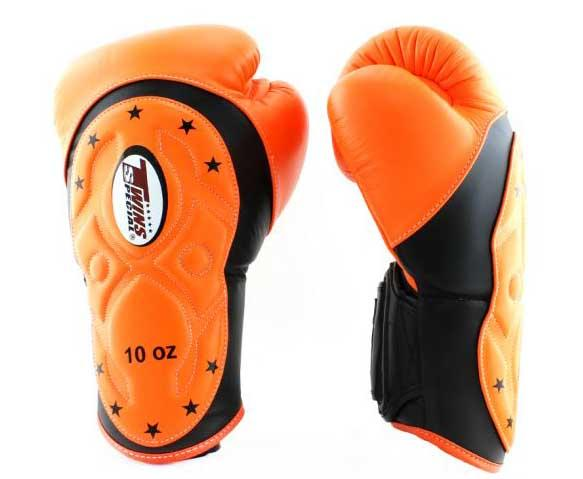 Twins Black-Orange Dual Color Boxing Gloves - Extended Cuff Velcro Wrist - Image 2