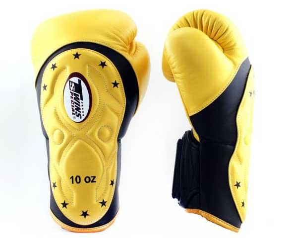 Twins Black-Yellow Dual Color Boxing Gloves - Extended Cuff Velcro Wrist - Image 2