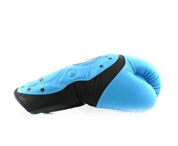 Twins Black-Light Blue Dual Color Boxing Gloves - Extended Cuff Velcro Wrist - Image 3