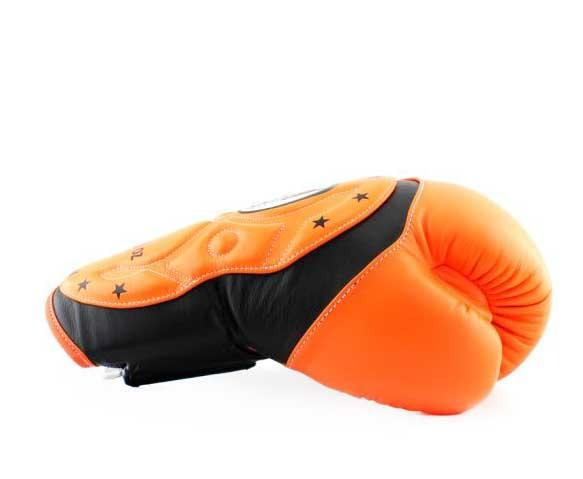 Twins Black-Orange Dual Color Boxing Gloves - Extended Cuff Velcro Wrist - Image 3