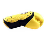 Twins Black-Yellow Dual Color Boxing Gloves - Extended Cuff Velcro Wrist - Image 3