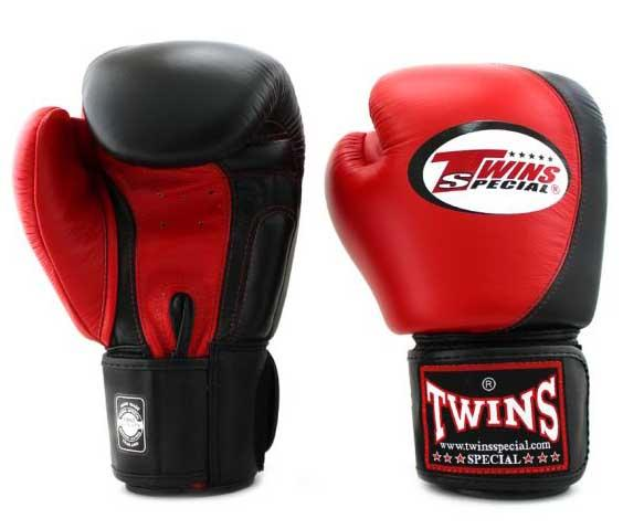 Twins Red-Black Dual Color Boxing Gloves - Velcro Wrist
