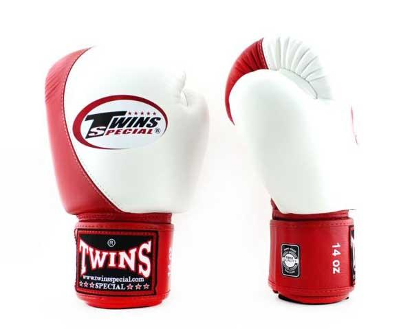 Twins White-Red Dual Color Boxing Gloves - Velcro Wrist