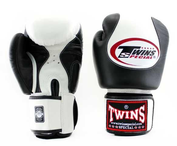 Twins White-Black Dual Color Boxing Gloves - Velcro Wrist - Image 1