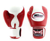 Twins White-Red Dual Color Boxing Gloves - Velcro Wrist - Image 1