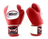 Twins White-Red Dual Color Boxing Gloves - Velcro Wrist - Image 2