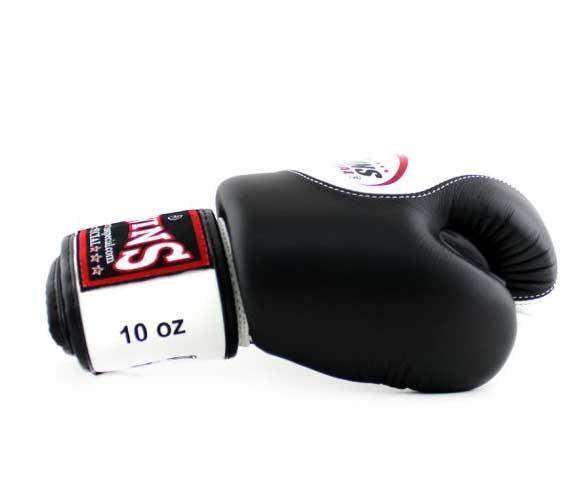 Twins White-Black Dual Color Boxing Gloves - Velcro Wrist - Image 3