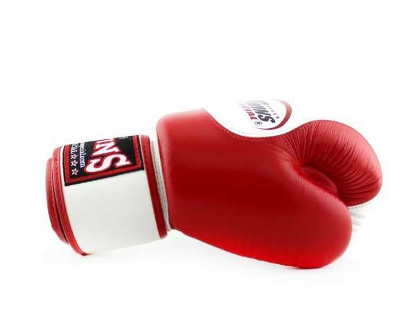 Twins White-Red Dual Color Boxing Gloves - Velcro Wrist - Image 3