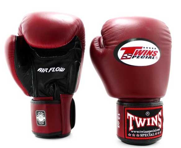 Twins Black-Maroon Dual Color Boxing Gloves - Velcro Wrist - Image 1