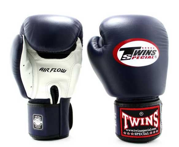 Twins White-Navy Dual Color Boxing Gloves - Velcro Wrist - Image 1