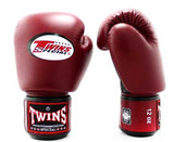 Twins Black-Maroon Dual Color Boxing Gloves - Velcro Wrist - Image 2