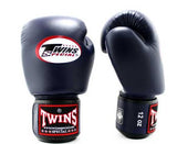 Twins White-Navy Dual Color Boxing Gloves - Velcro Wrist - Image 2