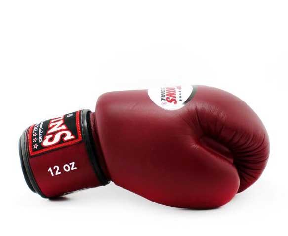 Twins Black-Maroon Dual Color Boxing Gloves - Velcro Wrist - Image 3