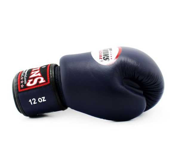 Twins White-Navy Dual Color Boxing Gloves - Velcro Wrist - Image 3