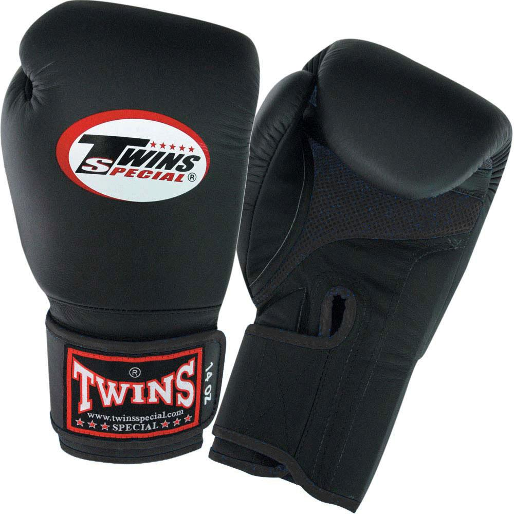 Twins Boxing Gloves Air Velcro - Black-Black - Premium Leather