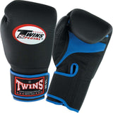 Twins Boxing Gloves Air Velcro - Black-Blue - Premium Leather