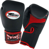 Twins Boxing Gloves Air Velcro - Black Red - Premium Leather