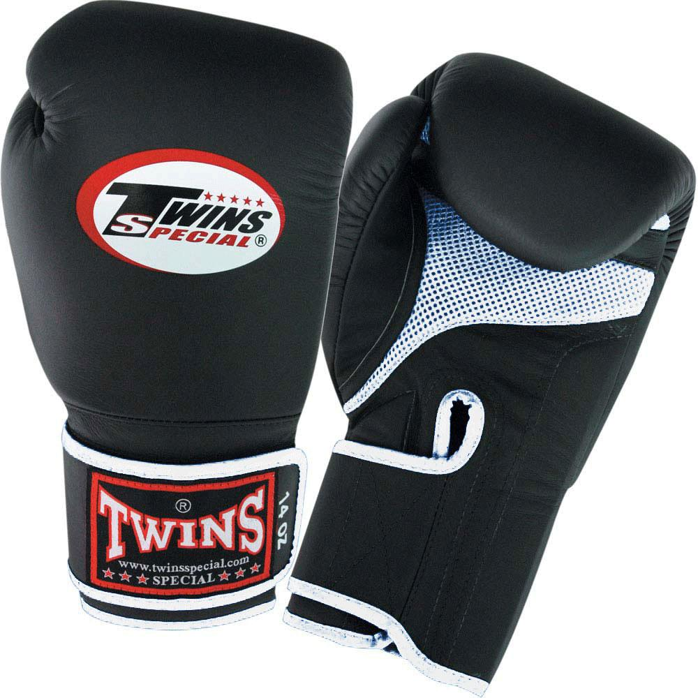 Twins Boxing Gloves Air Velcro - Black-White - Premium Leather