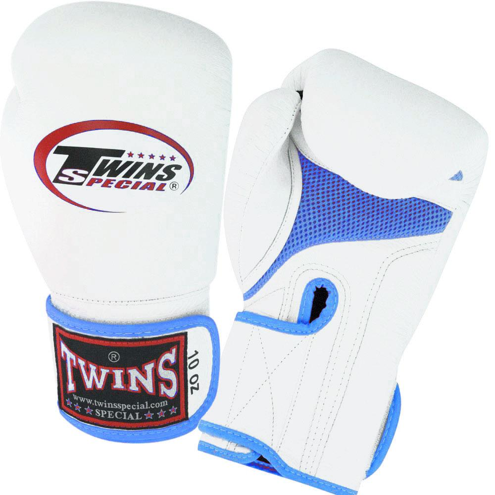 Twins Boxing Gloves Air Velcro - White-Blue - Premium Leather