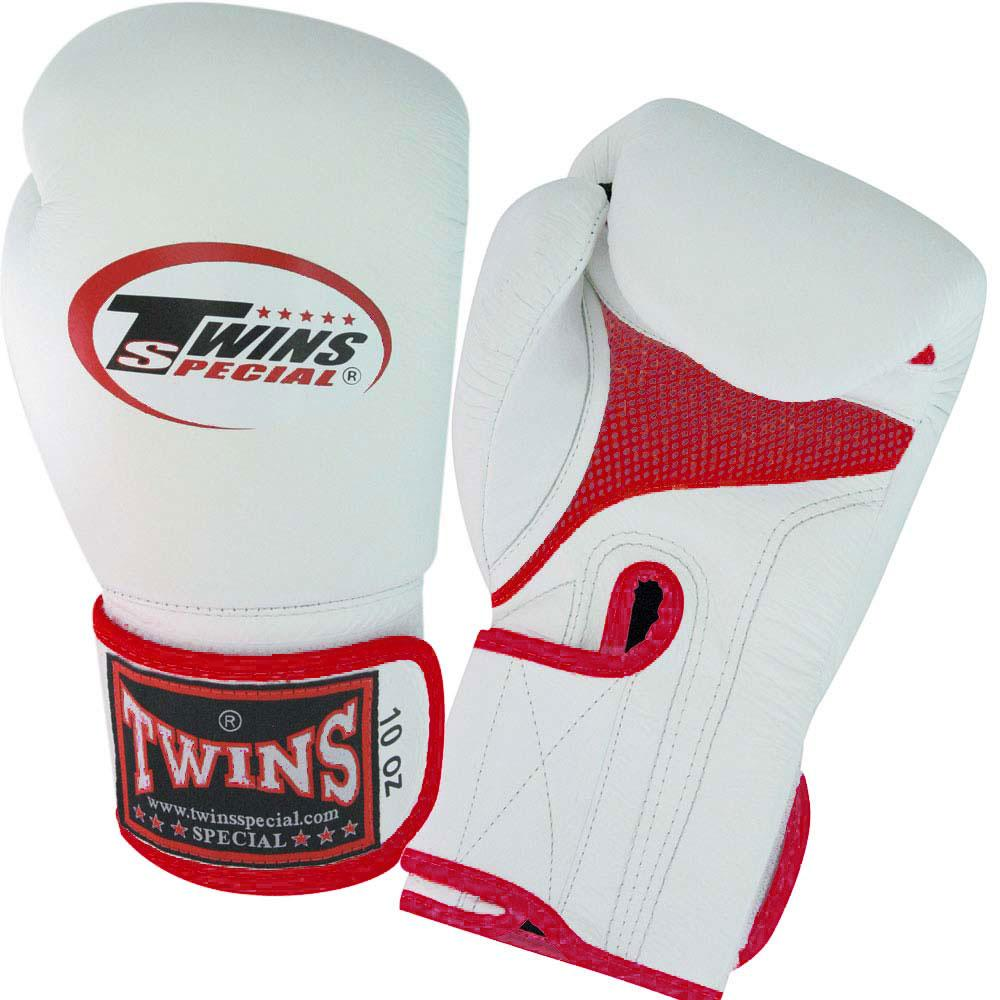 Twins Boxing Gloves Air Velcro - White-Red - Premium Leather