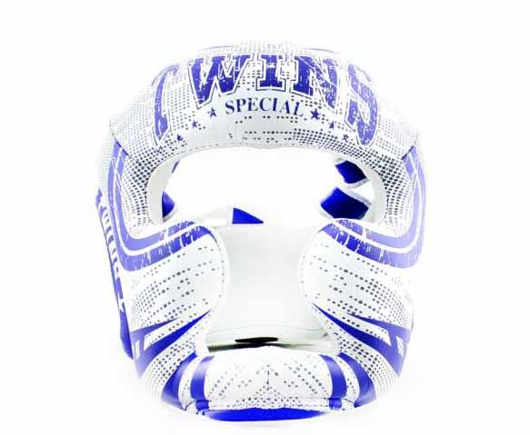 Twins White-Blue Signature Headgear- Boxing, MMA, Muay Thai - Image 1