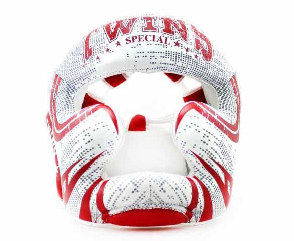 Twins White-Red Signature Headgear- Boxing, MMA, Muay Thai - Image 1