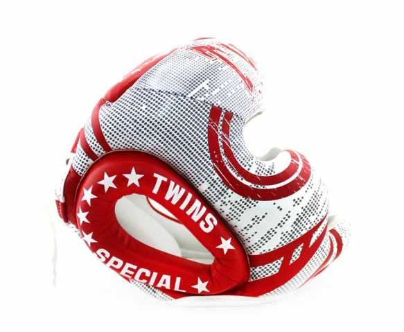 Twins White-Red Signature Headgear- Boxing, MMA, Muay Thai - Image 2
