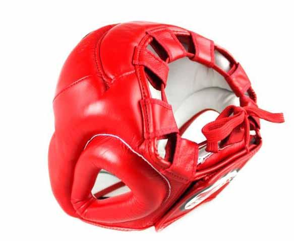 Twins Full Face Head Gear- Premium Leather w/ Velcro - Red