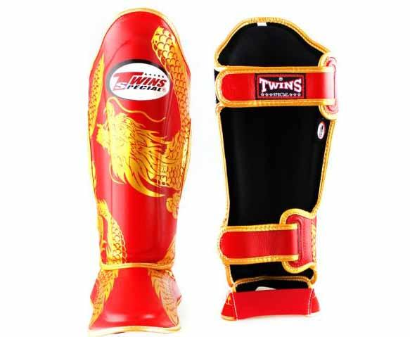 Twins Gold-Red Signature Shin Guards- Kicking, Martial Arts, MMA, Muay Thai