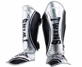 Twins Silver-Black Signature Shin Guards- Kicking, Martial Arts, MMA, Muay Thai