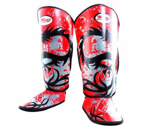 Twins Red Signature Shin Guards- Kicking, Martial Arts, MMA, Muay Thai - Image 1