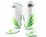 Twins Green-White Signature Shin Guards- Kicking, Martial Arts, MMA, Muay Thai - Image 1