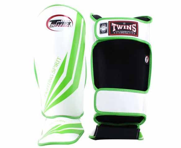 Twins Green-White Signature Shin Guards- Kicking, Martial Arts, MMA, Muay Thai - Image 2