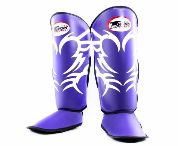 Twins White-Purple Signature Shin Guards- Kicking, Martial Arts, MMA, Muay Thai - Image 1