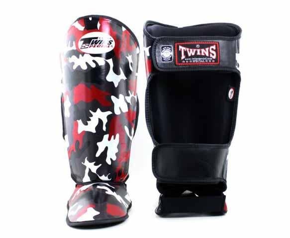 Twins Red Signature Shin Guards- Kicking, Martial Arts, MMA, Muay Thai
