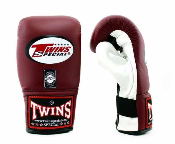 Twins White-Maroon Training Gloves- Punching, Boxing, Martial Arts, MMA, Muay Thai - Image 2