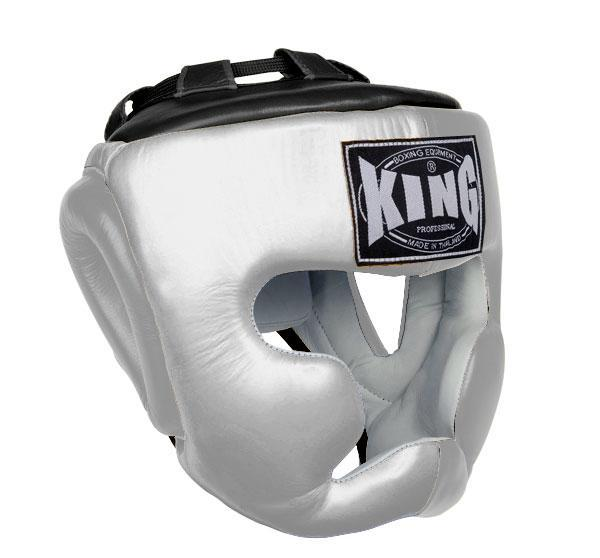 KING Head Guard- Full Coverage- Premium Leather - White Black