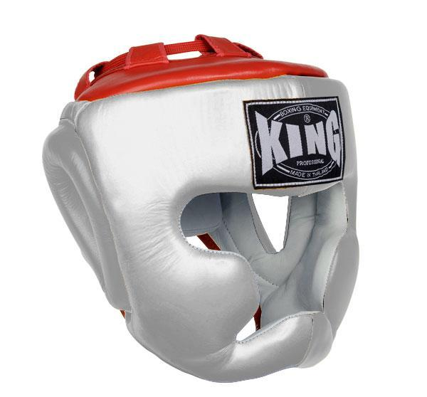 KING Head Guard- Full Coverage- Premium Leather - White Red