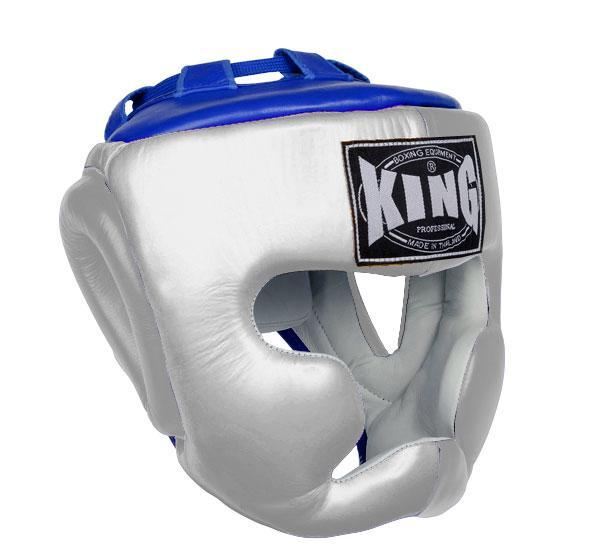 KING Head Guard- Full Coverage- Premium Leather - White Blue
