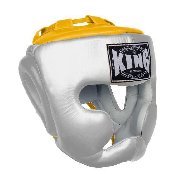 KING Head Guard- Full Coverage- Premium Leather - White Yellow