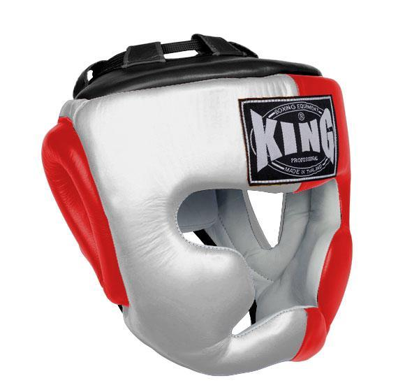 KING Head Guard- Full Coverage- Premium Leather - White Red Black