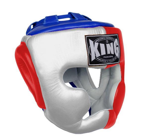 KING Head Guard- Full Coverage- Premium Leather - White Red Blue